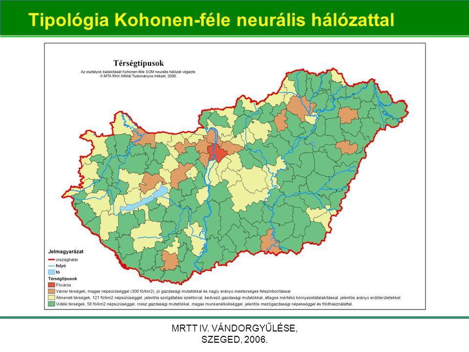 MRTT IV. VÁNDORGYŰLÉSE, SZEGED, 2006. Tipológia Kohonen-féle neurális hálózattal