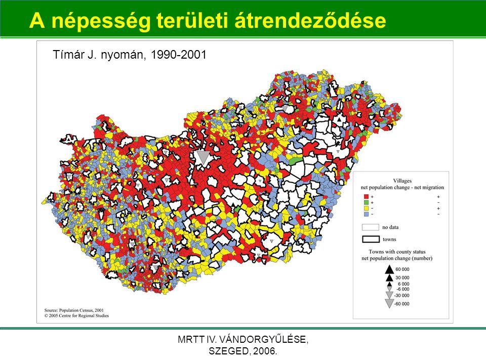MRTT IV. VÁNDORGYŰLÉSE, SZEGED, 2006. A népesség területi átrendeződése Tímár J. nyomán, 1990-2001