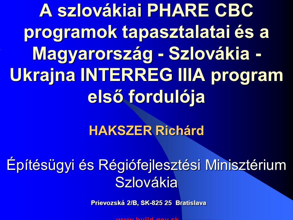 A szlovákiai PHARE CBC programok tapasztalatai és a Magyarország - Szlovákia - Ukrajna INTERREG IIIA program első fordulója HAKSZER Richárd Építésügyi és Régiófejlesztési Minisztérium Szlovákia Prievozská 2/B, SK-825 25 Bratislava www.build.gov.sk www.build.gov.sk