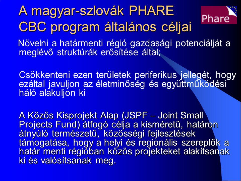 A magyar-szlovák PHARE CBC program általános céljai Növelni a határmenti régió gazdasági potenciálját a meglévő struktúrák erősítése által; Csökkenteni ezen területek periferikus jellegét, hogy ezáltal javuljon az életminőség és együttműködési háló alakuljon ki A Közös Kisprojekt Alap (JSPF – Joint Small Projects Fund) átfogó célja a kisméretű, határon átnyúló természetű, közösségi fejlesztések támogatása, hogy a helyi és regionális szereplők a határ menti régióban közös projekteket alakítsanak ki és valósítsanak meg.