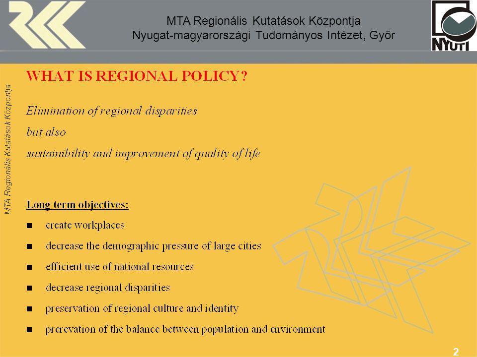 MTA Regionális Kutatások Központja 3 MTA Regionális Kutatások Központja Nyugat-magyarországi Tudományos Intézet, Győr