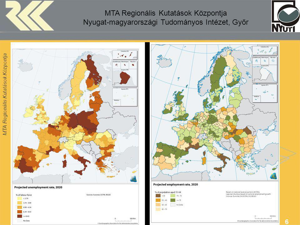 MTA Regionális Kutatások Központja 7 Source: Third íCohesion Report Brussels, 2004 Regional disparities per capita (PPS), 2003 NUTS2 (EU25=100)
