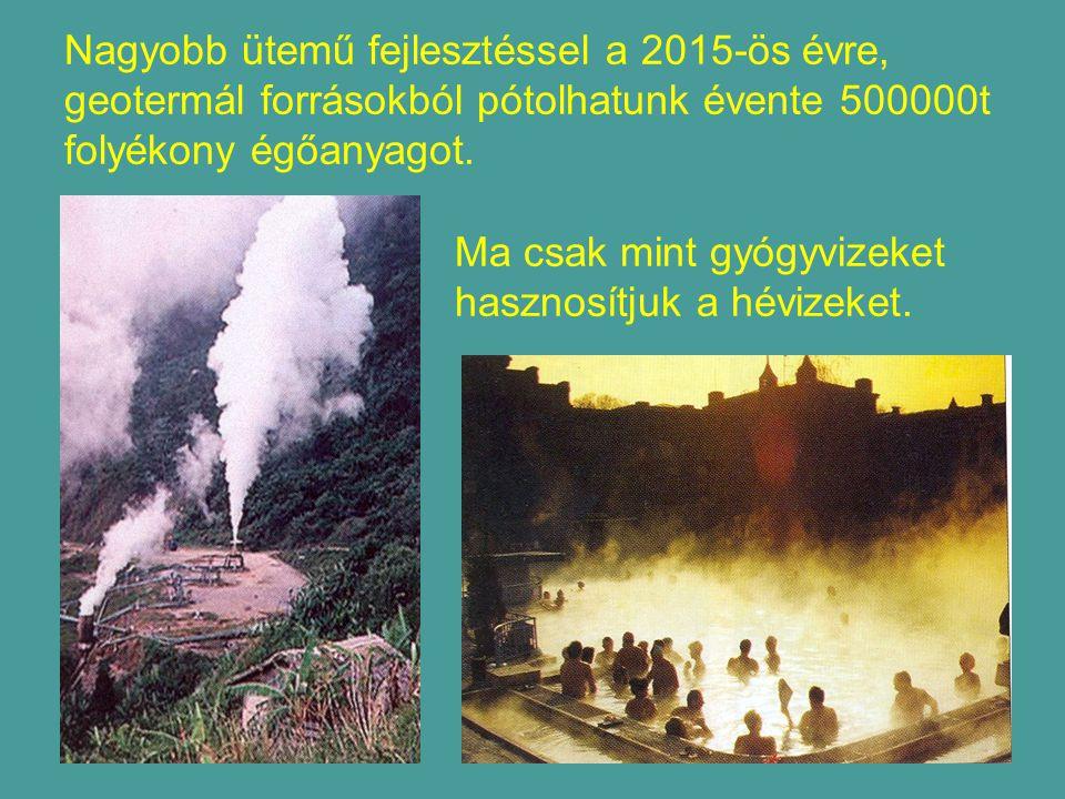 Nagyobb ütemű fejlesztéssel a 2015-ös évre, geotermál forrásokból pótolhatunk évente 500000t folyékony égőanyagot.