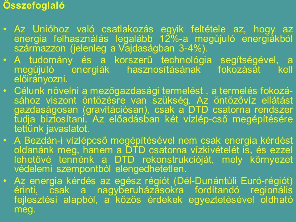 Összefoglaló Az Unióhoz való csatlakozás egyik feltétele az, hogy az energia felhasználás legalább 12%-a megújuló energiákból származzon (jelenleg a Vajdaságban 3-4%).