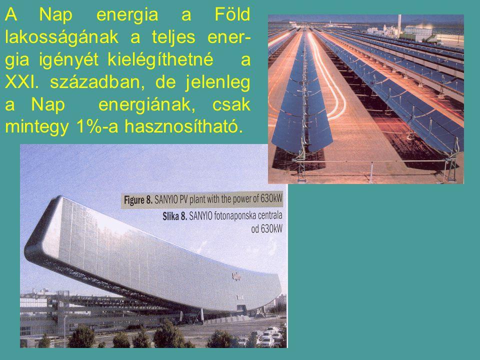 A Nap energia a Föld lakosságának a teljes ener- gia igényét kielégíthetné a XXI.