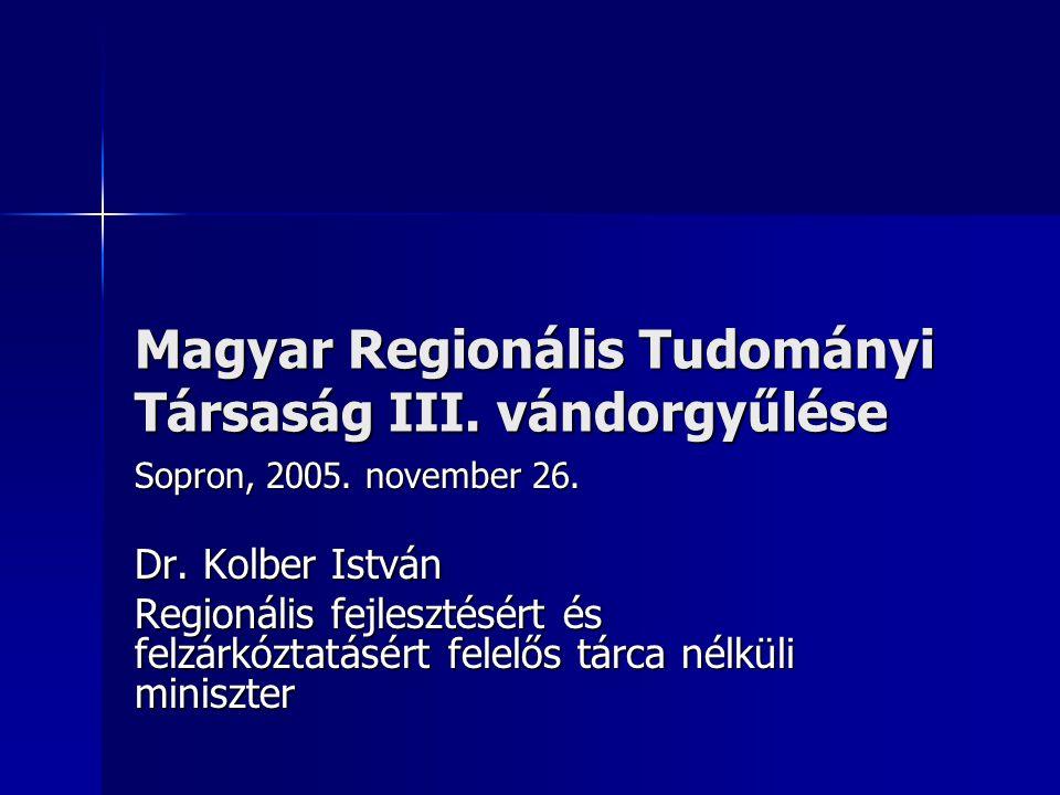 Magyar Regionális Tudományi Társaság III.vándorgyűlése Sopron, 2005.