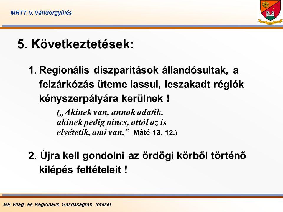 """1.Regionális diszparitások állandósultak, a felzárkózás üteme lassul, leszakadt régiók kényszerpályára kerülnek ! (""""Akinek van, annak adatik, akinek p"""