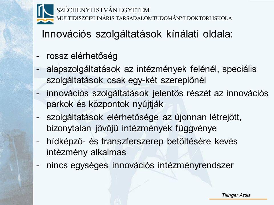 Innovációs szolgáltatások kínálati oldala: -rossz elérhetőség -alapszolgáltatások az intézmények felénél, speciális szolgáltatások csak egy-két szereplőnél -innovációs szolgáltatások jelentős részét az innovációs parkok és központok nyújtják -szolgáltatások elérhetősége az újonnan létrejött, bizonytalan jövőjű intézmények függvénye -hídképző- és transzferszerep betöltésére kevés intézmény alkalmas -nincs egységes innovációs intézményrendszer Tilinger Attila