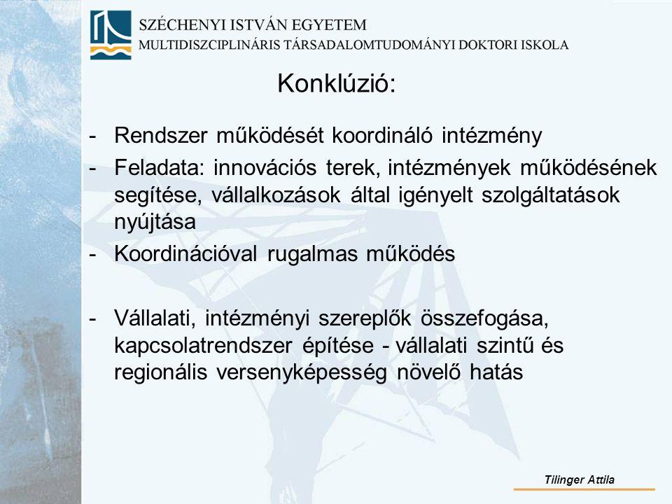 Konklúzió: -Rendszer működését koordináló intézmény -Feladata: innovációs terek, intézmények működésének segítése, vállalkozások által igényelt szolgáltatások nyújtása -Koordinációval rugalmas működés -Vállalati, intézményi szereplők összefogása, kapcsolatrendszer építése - vállalati szintű és regionális versenyképesség növelő hatás Tilinger Attila