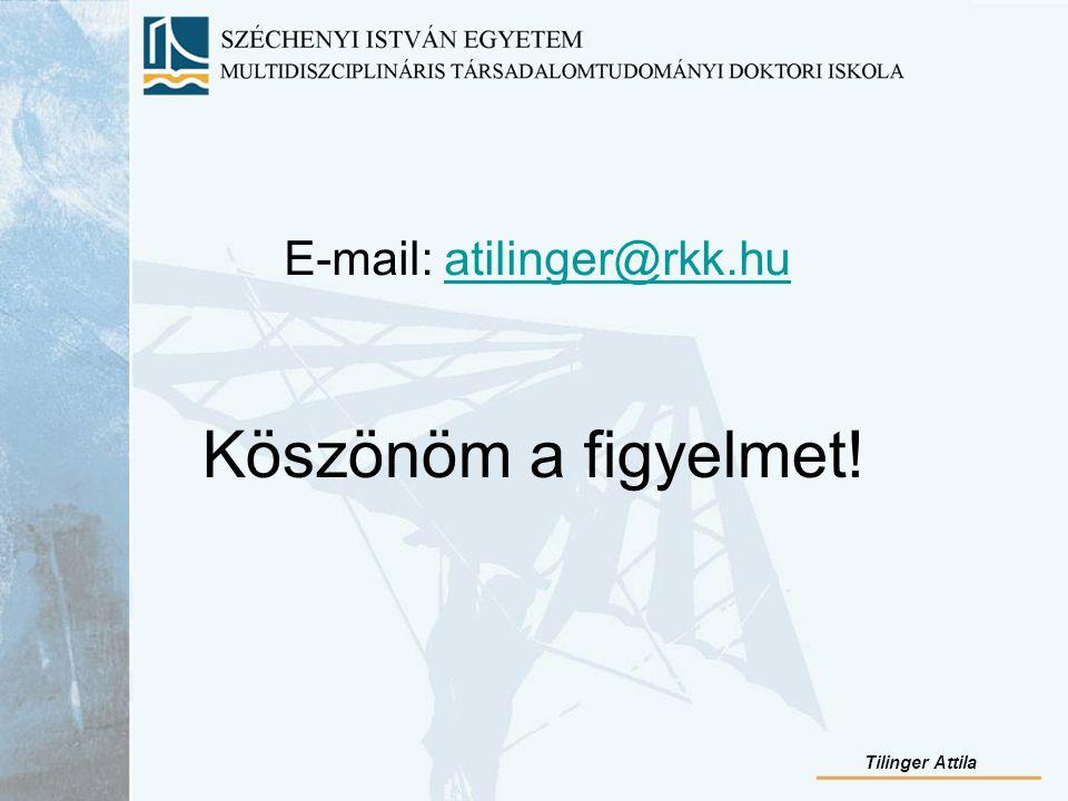 Köszönöm a figyelmet! E-mail: atilinger@rkk.huatilinger@rkk.hu Tilinger Attila