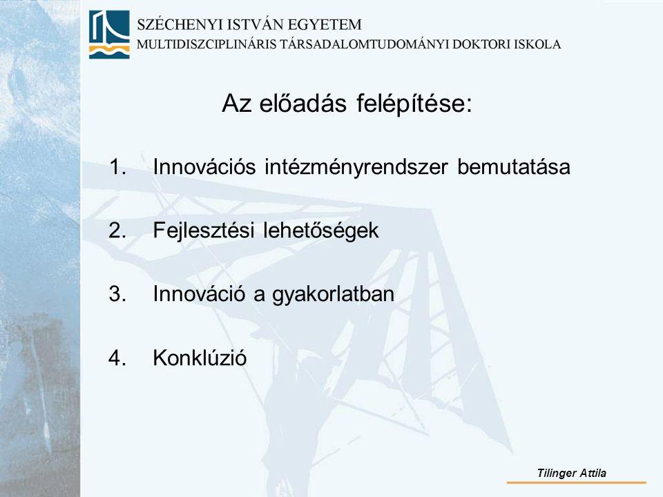 Az előadás felépítése: 1.Innovációs intézményrendszer bemutatása 2.Fejlesztési lehetőségek 3.Innováció a gyakorlatban 4.Konklúzió Tilinger Attila