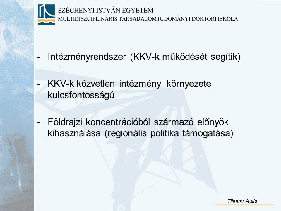 -Intézményrendszer (KKV-k működését segítik) -KKV-k közvetlen intézményi környezete kulcsfontosságú -Földrajzi koncentrációból származó előnyök kihasználása (regionális politika támogatása) Tilinger Attila