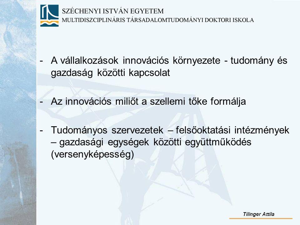-A vállalkozások innovációs környezete - tudomány és gazdaság közötti kapcsolat -Az innovációs miliőt a szellemi tőke formálja -Tudományos szervezetek – felsőoktatási intézmények – gazdasági egységek közötti együttműködés (versenyképesség) Tilinger Attila