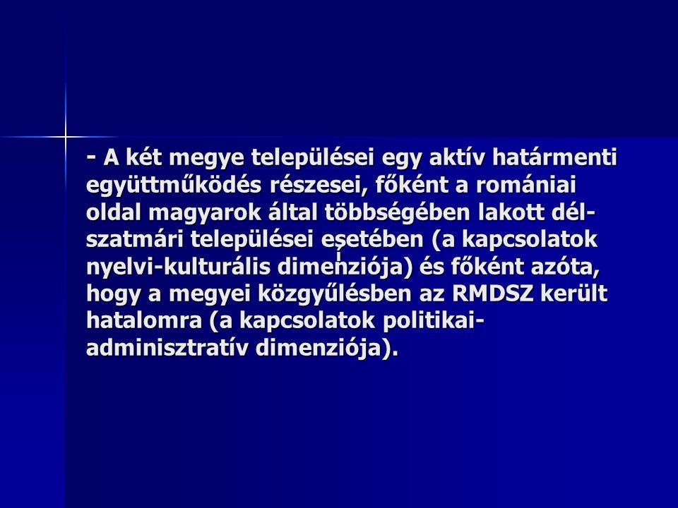 - A két megye települései egy aktív határmenti együttműködés részesei, főként a romániai oldal magyarok által többségében lakott dél- szatmári települései esetében (a kapcsolatok nyelvi-kulturális dimenziója) és főként azóta, hogy a megyei közgyűlésben az RMDSZ került hatalomra (a kapcsolatok politikai- adminisztratív dimenziója).