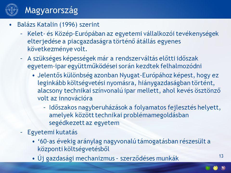 13 Magyarország Balázs Katalin (1996) szerint –Kelet- és Közép-Európában az egyetemi vállalkozói tevékenységek elterjedése a piacgazdaságra történő átállás egyenes következménye volt.