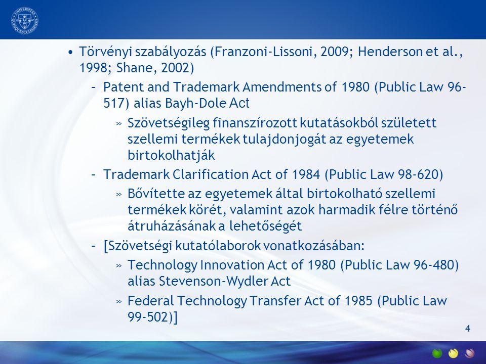 4 Törvényi szabályozás (Franzoni-Lissoni, 2009; Henderson et al., 1998; Shane, 2002) –Patent and Trademark Amendments of 1980 (Public Law 96- 517) alias Bayh-Dole Act »Szövetségileg finanszírozott kutatásokból született szellemi termékek tulajdonjogát az egyetemek birtokolhatják –Trademark Clarification Act of 1984 (Public Law 98-620) »Bővítette az egyetemek által birtokolható szellemi termékek körét, valamint azok harmadik félre történő átruházásának a lehetőségét –[Szövetségi kutatólaborok vonatkozásában: »Technology Innovation Act of 1980 (Public Law 96-480) alias Stevenson-Wydler Act »Federal Technology Transfer Act of 1985 (Public Law 99-502)]