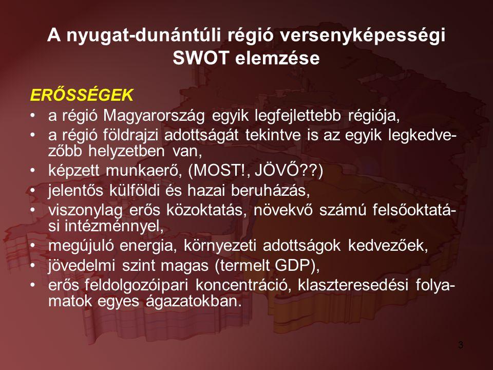 3 A nyugat-dunántúli régió versenyképességi SWOT elemzése ERŐSSÉGEK a régió Magyarország egyik legfejlettebb régiója, a régió földrajzi adottságát tek