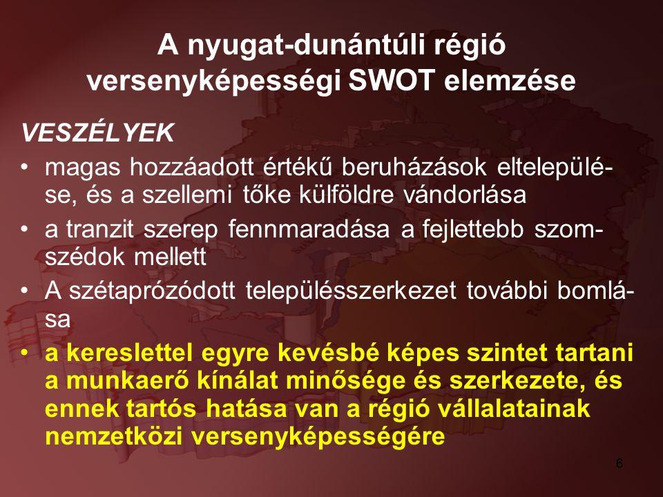 6 A nyugat-dunántúli régió versenyképességi SWOT elemzése VESZÉLYEK magas hozzáadott értékű beruházások eltelepülé- se, és a szellemi tőke külföldre v