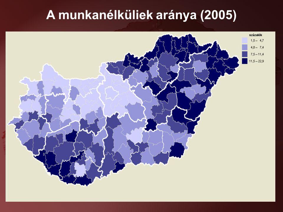 9 A munkanélküliek aránya (2005)