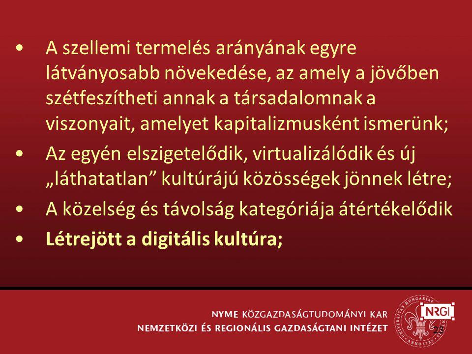 """23 A szellemi termelés arányának egyre látványosabb növekedése, az amely a jövőben szétfeszítheti annak a társadalomnak a viszonyait, amelyet kapitalizmusként ismerünk; Az egyén elszigetelődik, virtualizálódik és új """"láthatatlan kultúrájú közösségek jönnek létre; A közelség és távolság kategóriája átértékelődik Létrejött a digitális kultúra;"""