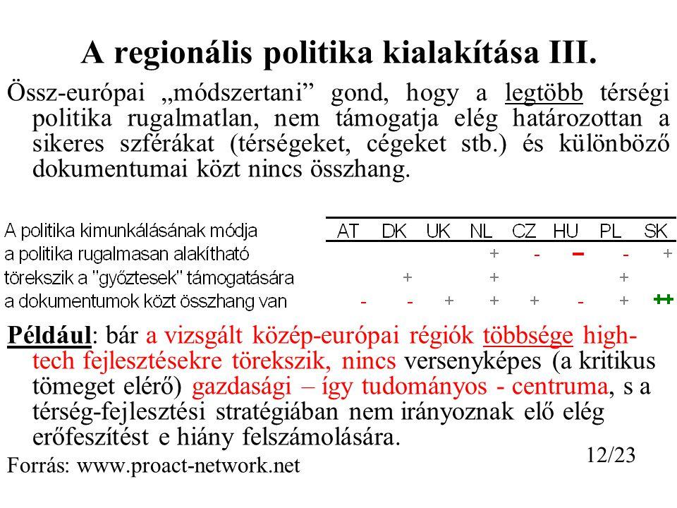 A regionális politika kialakítása III.