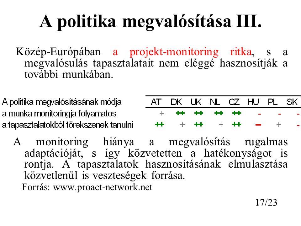 A politika megvalósítása III.