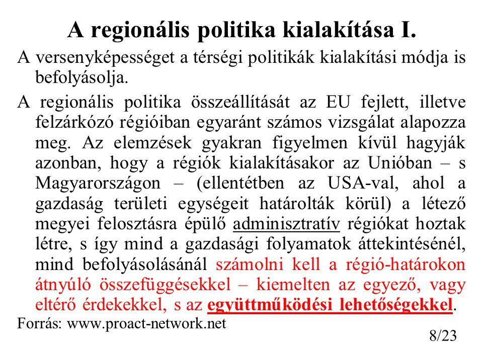 A regionális politika kialakítása I.