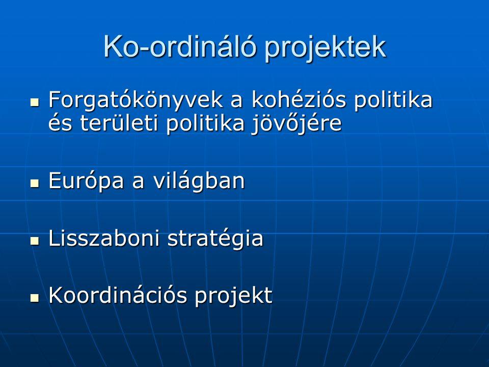Ko-ordináló projektek Forgatókönyvek a kohéziós politika és területi politika jövőjére Forgatókönyvek a kohéziós politika és területi politika jövőjére Európa a világban Európa a világban Lisszaboni stratégia Lisszaboni stratégia Koordinációs projekt Koordinációs projekt