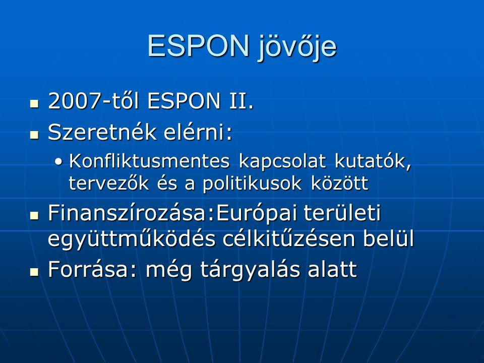 ESPON jövője 2007-től ESPON II. 2007-től ESPON II.