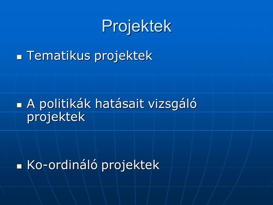 Projektek Tematikus projektek Tematikus projektek A politikák hatásait vizsgáló projektek A politikák hatásait vizsgáló projektek Ko-ordináló projektek Ko-ordináló projektek