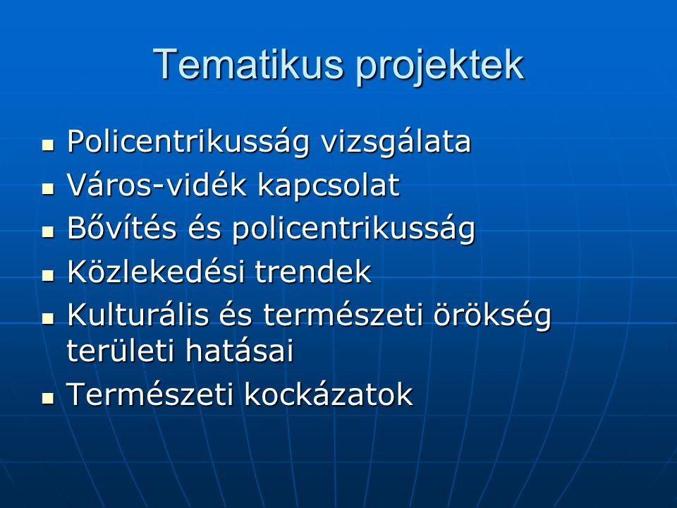 Tematikus projektek Policentrikusság vizsgálata Policentrikusság vizsgálata Város-vidék kapcsolat Város-vidék kapcsolat Bővítés és policentrikusság Bővítés és policentrikusság Közlekedési trendek Közlekedési trendek Kulturális és természeti örökség területi hatásai Kulturális és természeti örökség területi hatásai Természeti kockázatok Természeti kockázatok