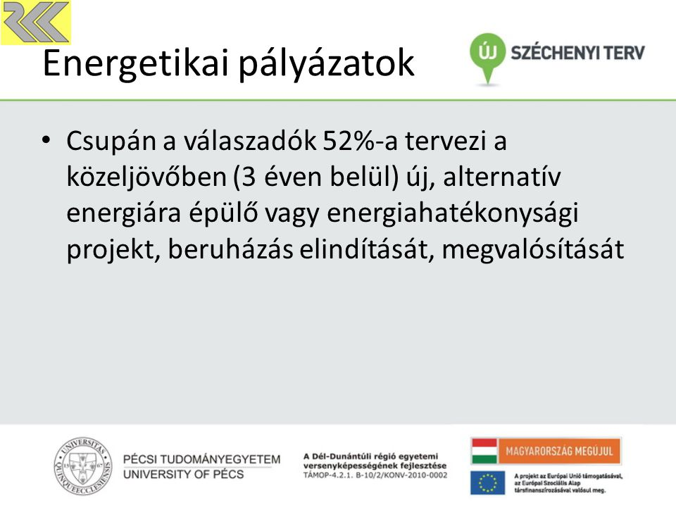 Energetikai pályázatok Csupán a válaszadók 52%-a tervezi a közeljövőben (3 éven belül) új, alternatív energiára épülő vagy energiahatékonysági projekt, beruházás elindítását, megvalósítását