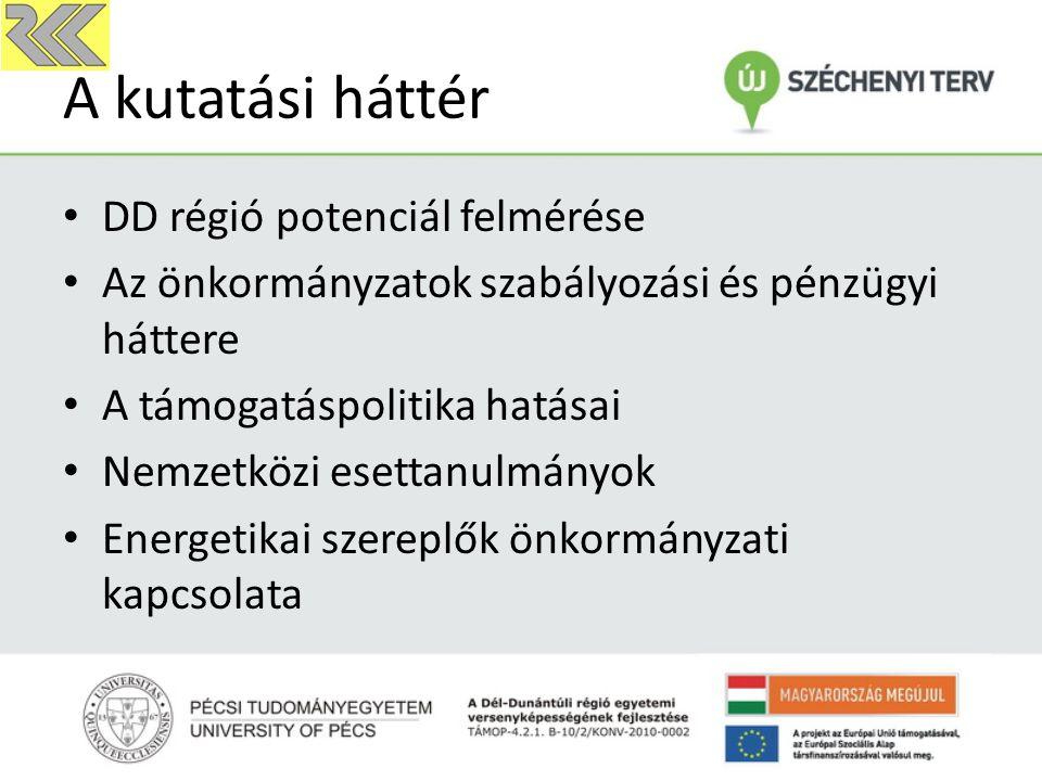 A kutatási háttér DD régió potenciál felmérése Az önkormányzatok szabályozási és pénzügyi háttere A támogatáspolitika hatásai Nemzetközi esettanulmányok Energetikai szereplők önkormányzati kapcsolata