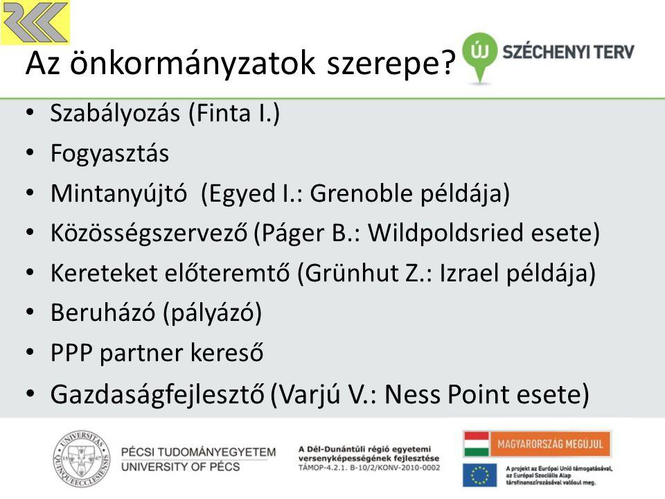 Az önkormányzatok szerepe? Szabályozás (Finta I.) Fogyasztás Mintanyújtó (Egyed I.: Grenoble példája) Közösségszervező (Páger B.: Wildpoldsried esete)