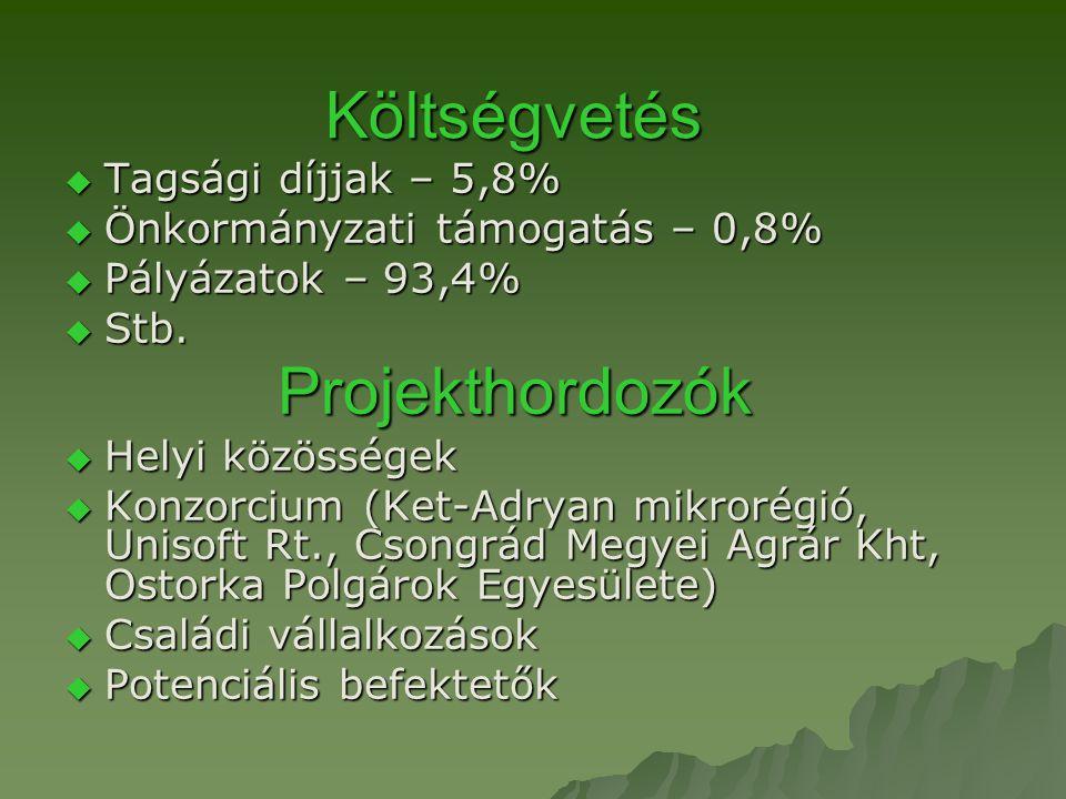 Költségvetés  Tagsági díjjak – 5,8%  Önkormányzati támogatás – 0,8%  Pályázatok – 93,4%  Stb.