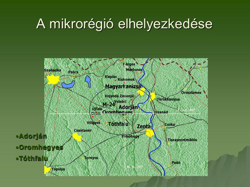 A mikrorégió elhelyezkedése K. h. 20 ° É. sz.