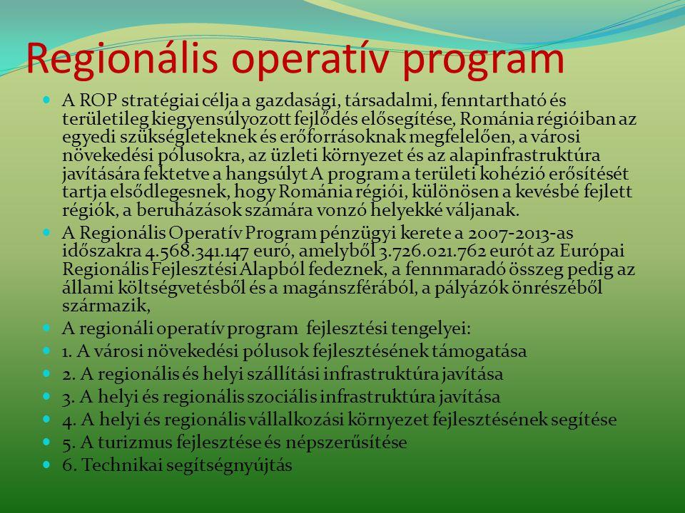 Regionális operatív program A ROP stratégiai célja a gazdasági, társadalmi, fenntartható és területileg kiegyensúlyozott fejlődés elősegítése, Románia régióiban az egyedi szükségleteknek és erőforrásoknak megfelelően, a városi növekedési pólusokra, az üzleti környezet és az alapinfrastruktúra javítására fektetve a hangsúlyt A program a területi kohézió erősítését tartja elsődlegesnek, hogy Románia régiói, különösen a kevésbé fejlett régiók, a beruházások számára vonzó helyekké váljanak.