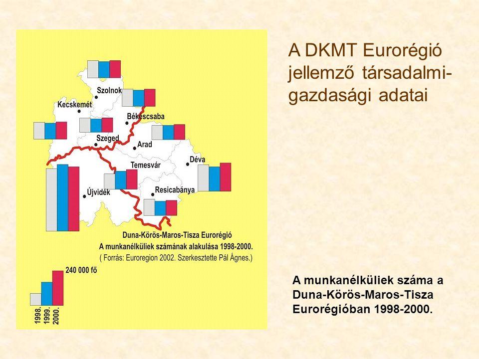 x. A DKMT Eurorégió jellemző társadalmi- gazdasági adatai A munkanélküliek száma a Duna-Körös-Maros-Tisza Eurorégióban 1998-2000.