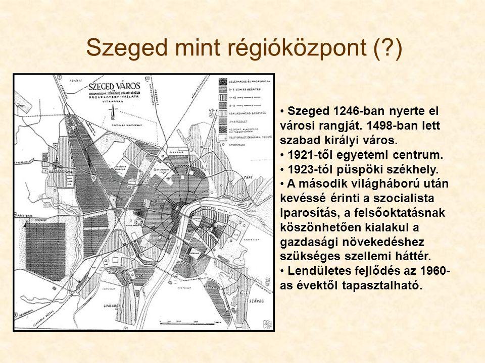 Szeged 1246-ban nyerte el városi rangját. 1498-ban lett szabad királyi város. 1921-től egyetemi centrum. 1923-tól püspöki székhely. A második világháb