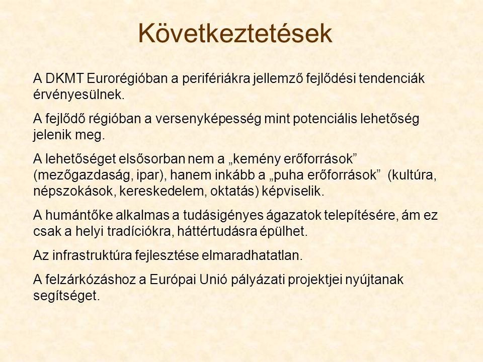 Következtetések A DKMT Eurorégióban a perifériákra jellemző fejlődési tendenciák érvényesülnek. A fejlődő régióban a versenyképesség mint potenciális