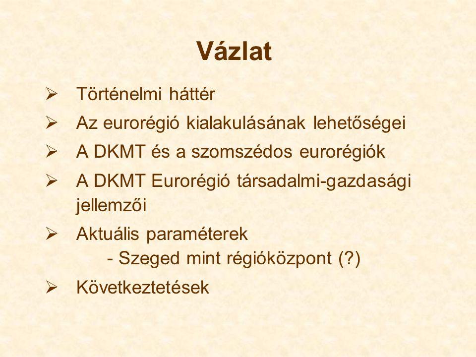Vázlat  Történelmi háttér  Az eurorégió kialakulásának lehetőségei  A DKMT és a szomszédos eurorégiók  A DKMT Eurorégió társadalmi-gazdasági jellemzői  Aktuális paraméterek - Szeged mint régióközpont ( )  Következtetések