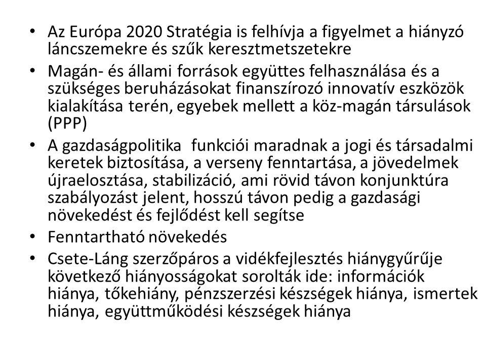 Az Európa 2020 Stratégia is felhívja a figyelmet a hiányzó láncszemekre és szűk keresztmetszetekre Magán- és állami források együttes felhasználása és a szükséges beruházásokat finanszírozó innovatív eszközök kialakítása terén, egyebek mellett a köz-magán társulások (PPP) A gazdaságpolitika funkciói maradnak a jogi és társadalmi keretek biztosítása, a verseny fenntartása, a jövedelmek újraelosztása, stabilizáció, ami rövid távon konjunktúra szabályozást jelent, hosszú távon pedig a gazdasági növekedést és fejlődést kell segítse Fenntartható növekedés Csete-Láng szerzőpáros a vidékfejlesztés hiánygyűrűje következő hiányosságokat sorolták ide: információk hiánya, tőkehiány, pénzszerzési készségek hiánya, ismertek hiánya, együttműködési készségek hiánya