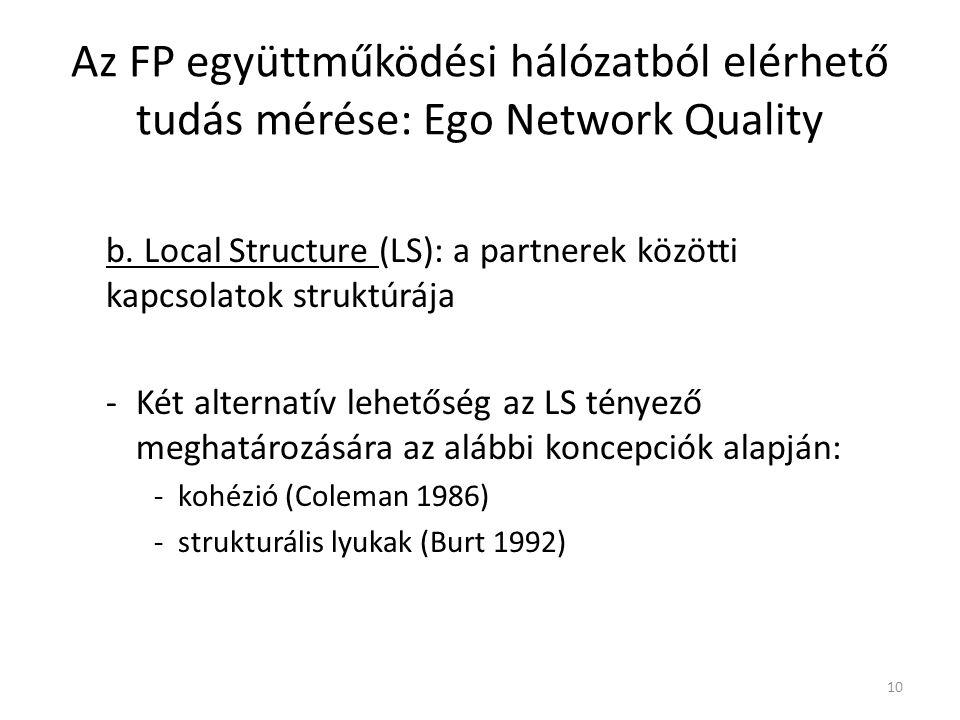 b. Local Structure (LS): a partnerek közötti kapcsolatok struktúrája -Két alternatív lehetőség az LS tényező meghatározására az alábbi koncepciók alap