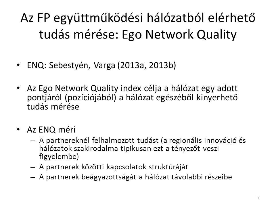 Az FP együttműködési hálózatból elérhető tudás mérése: Ego Network Quality ENQ: Sebestyén, Varga (2013a, 2013b) Az Ego Network Quality index célja a hálózat egy adott pontjáról (pozíciójából) a hálózat egészéből kinyerhető tudás mérése Az ENQ méri – A partnereknél felhalmozott tudást (a regionális innováció és hálózatok szakirodalma tipikusan ezt a tényezőt veszi figyelembe) – A partnerek közötti kapcsolatok struktúráját – A partnerek beágyazottságát a hálózat távolabbi részeibe 7