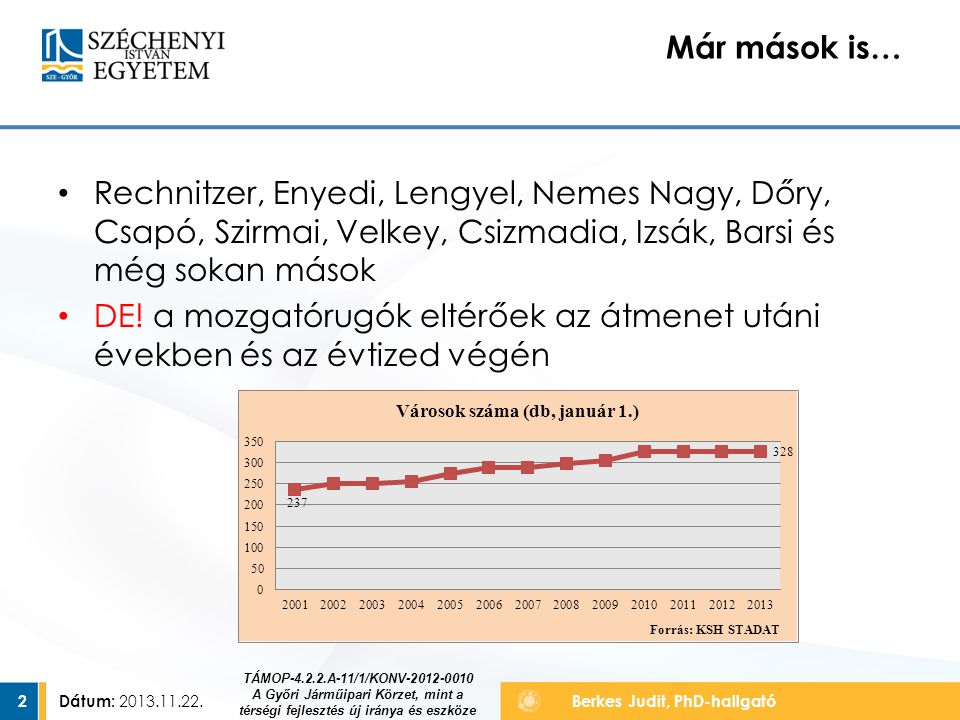 Dátum: 2013.11.22.2 Berkes Judit, PhD-hallgató Már mások is… TÁMOP-4.2.2.A-11/1/KONV-2012-0010 A Győri Járműipari Körzet, mint a térségi fejlesztés új iránya és eszköze Rechnitzer, Enyedi, Lengyel, Nemes Nagy, Dőry, Csapó, Szirmai, Velkey, Csizmadia, Izsák, Barsi és még sokan mások DE.