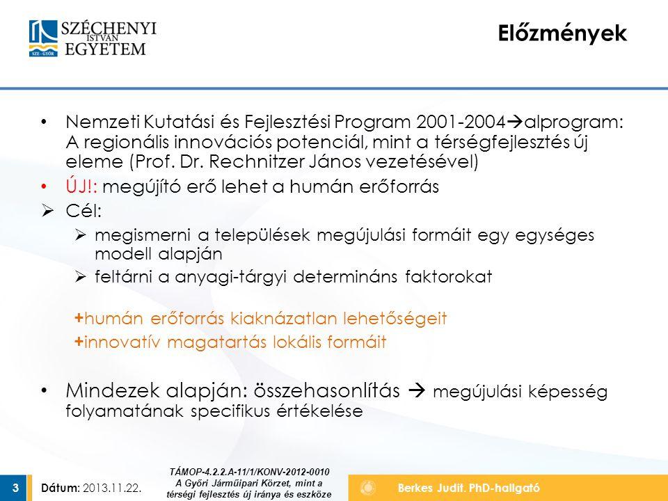 Dátum: 2013.11.22.3 Berkes Judit. PhD-hallgató Nemzeti Kutatási és Fejlesztési Program 2001-2004  alprogram: A regionális innovációs potenciál, mint