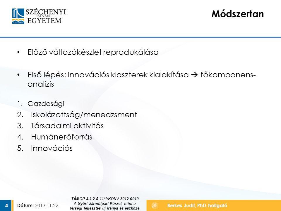Dátum: 2013.11.22.4 Berkes Judit, PhD-hallgató Előző változókészlet reprodukálása Első lépés: innovációs klaszterek kialakítása  főkomponens- analízis 1.Gazdasági 2.Iskolázottság/menedzsment 3.Társadalmi aktivitás 4.Humánerőforrás 5.Innovációs Módszertan TÁMOP-4.2.2.A-11/1/KONV-2012-0010 A Győri Járműipari Körzet, mint a térségi fejlesztés új iránya és eszköze