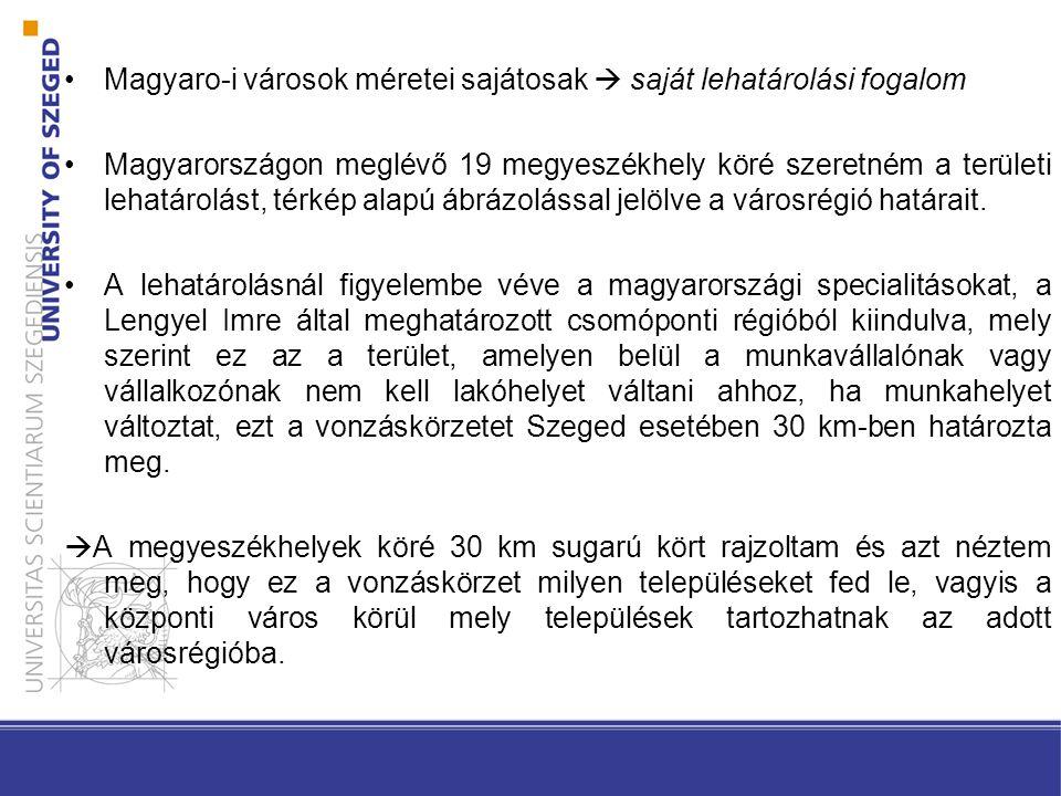 Magyaro-i városok méretei sajátosak  saját lehatárolási fogalom Magyarországon meglévő 19 megyeszékhely köré szeretném a területi lehatárolást, térké