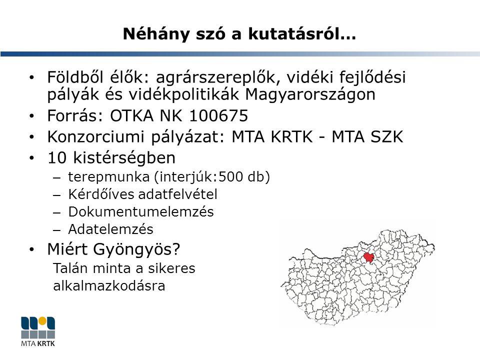 Néhány szó a kutatásról… Földből élők: agrárszereplők, vidéki fejlődési pályák és vidékpolitikák Magyarországon Forrás: OTKA NK 100675 Konzorciumi pál