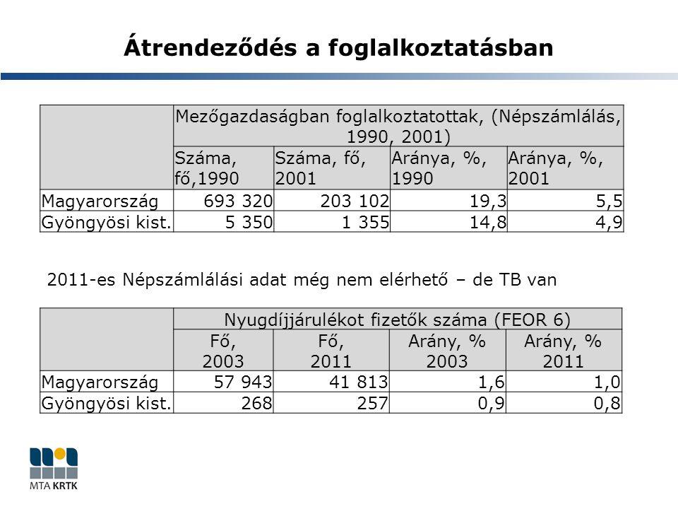 Átrendeződés a foglalkoztatásban Mezőgazdaságban foglalkoztatottak, (Népszámlálás, 1990, 2001) Száma, fő,1990 Száma, fő, 2001 Aránya, %, 1990 Aránya, %, 2001 Magyarország693 320203 10219,35,5 Gyöngyösi kist.5 3501 35514,84,9 Nyugdíjjárulékot fizetők száma (FEOR 6) Fő, 2003 Fő, 2011 Arány, % 2003 Arány, % 2011 Magyarország57 94341 8131,61,0 Gyöngyösi kist.2682570,90,8 2011-es Népszámlálási adat még nem elérhető – de TB van